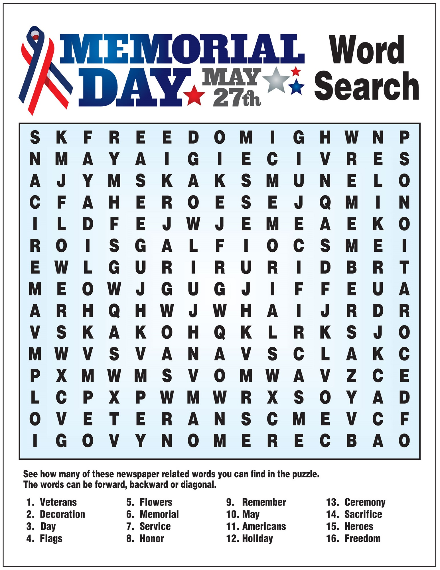 may word search memorial