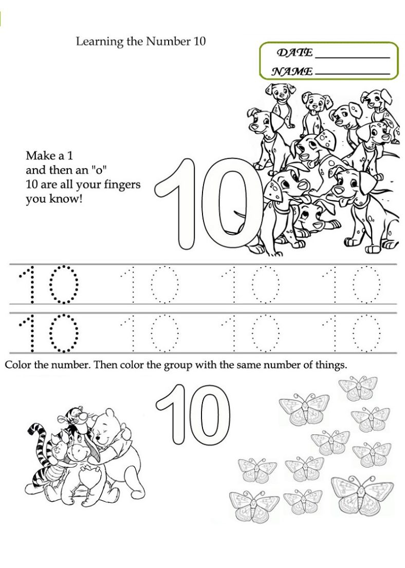 number 10 worksheet for preschool activity