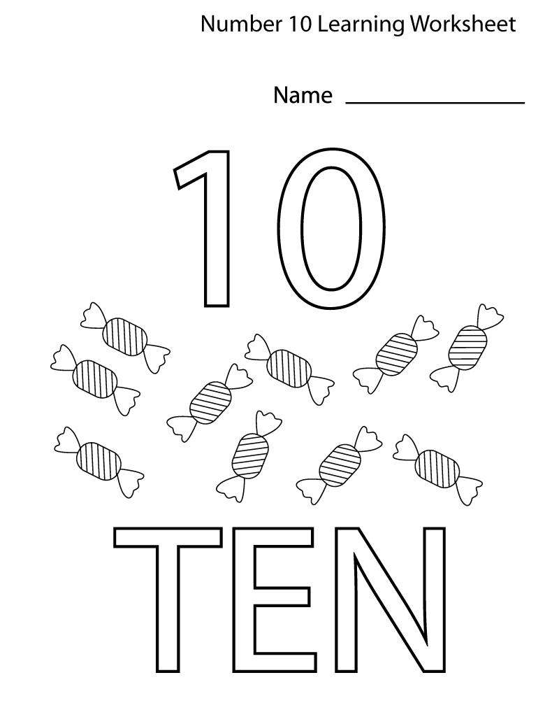 number 10 worksheet for preschool easy