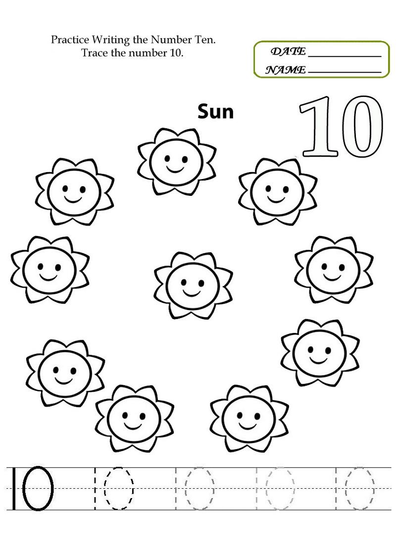 number 10 worksheet for preschool fun