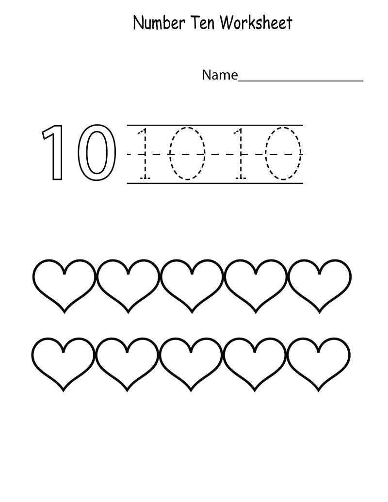 number 10 worksheet for preschool page
