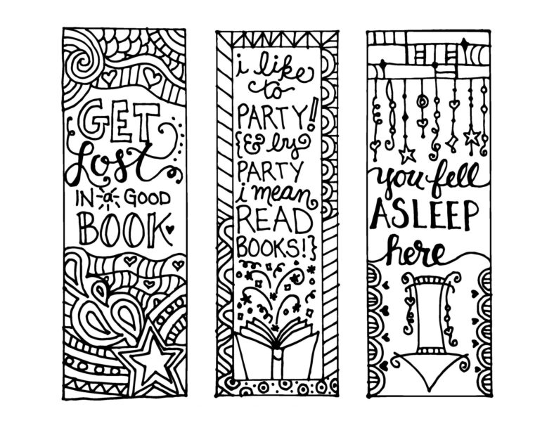 printable coloring reading bookmarks free