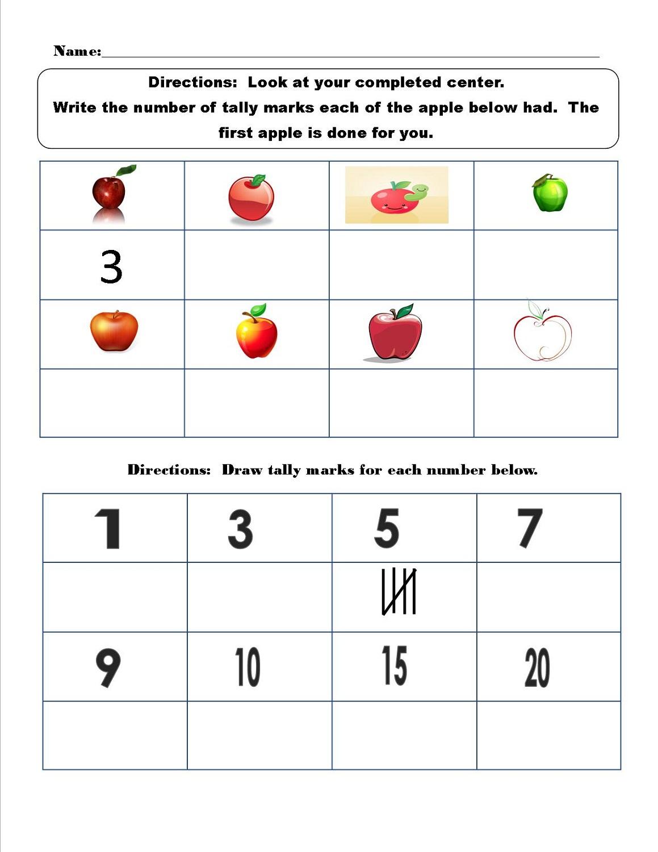 tally mark worksheet for kids