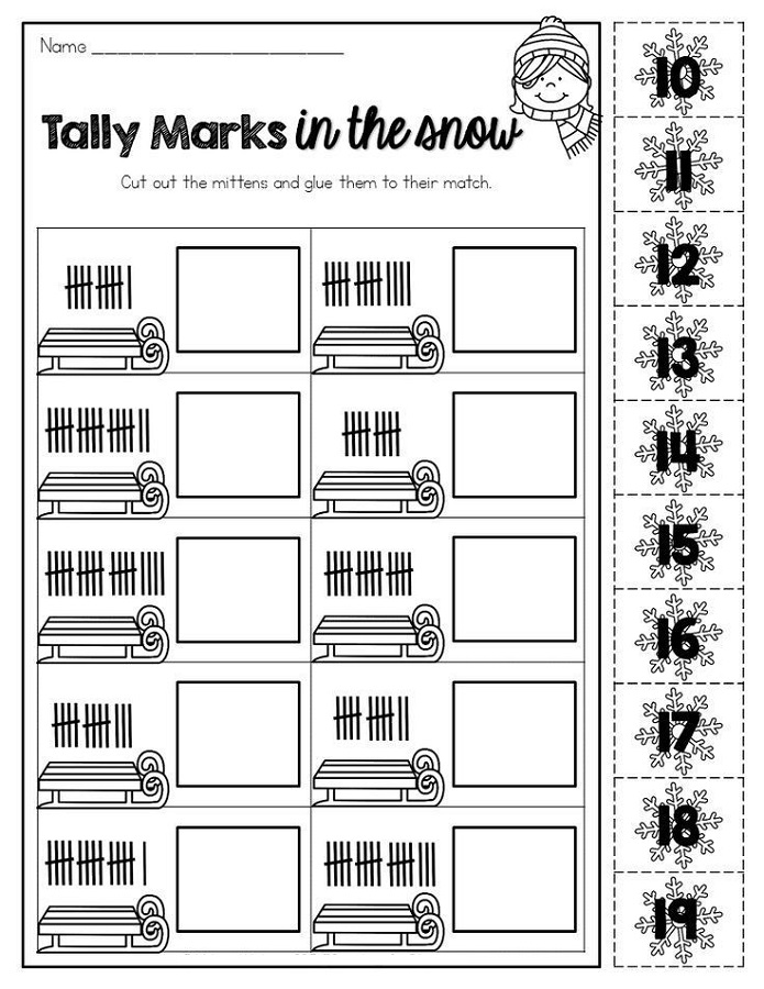tally mark worksheet kindergarten