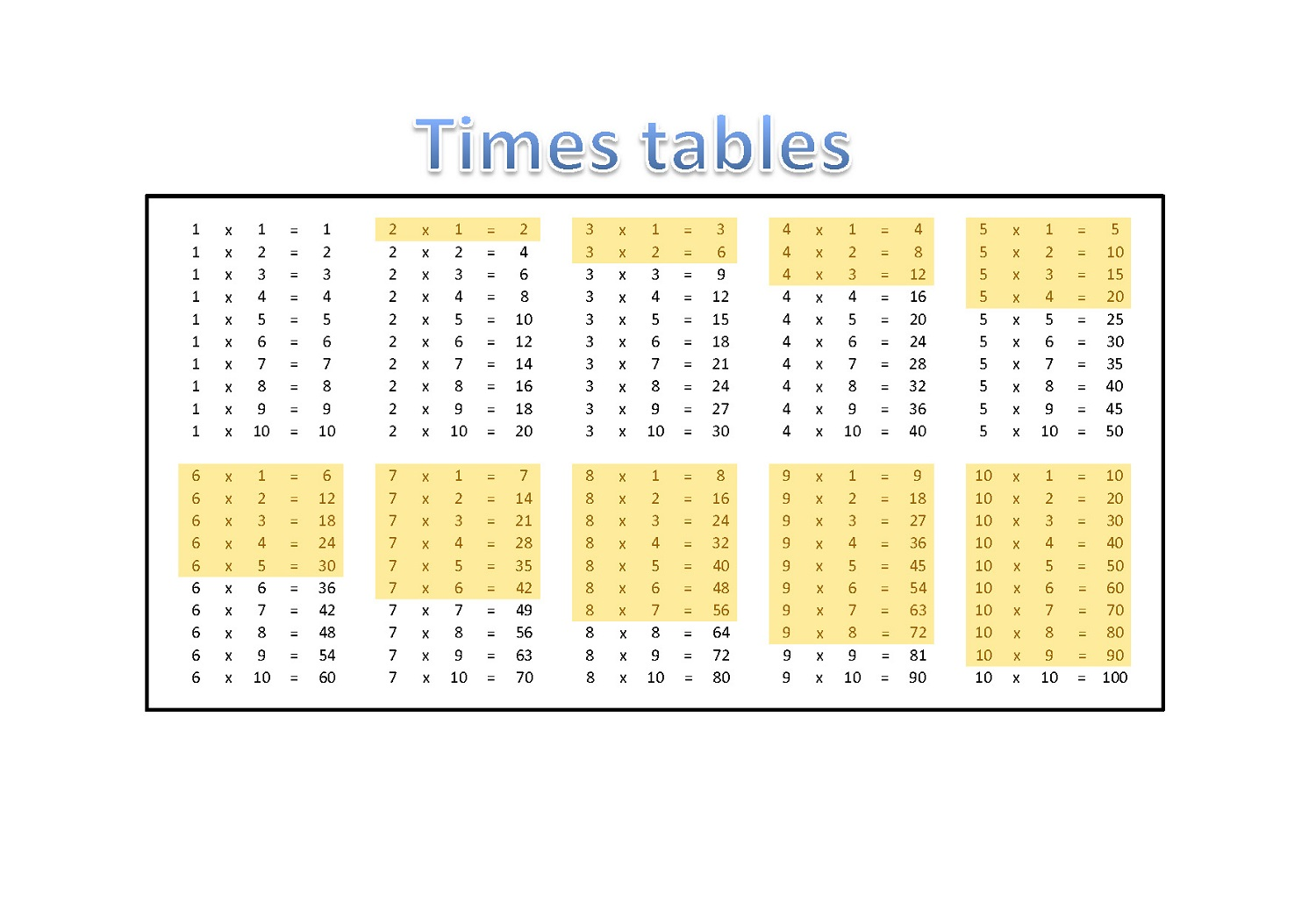 time table charts printable