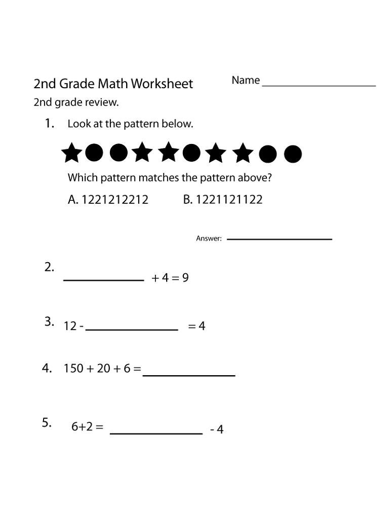 free 2nd grade math worksheets homework