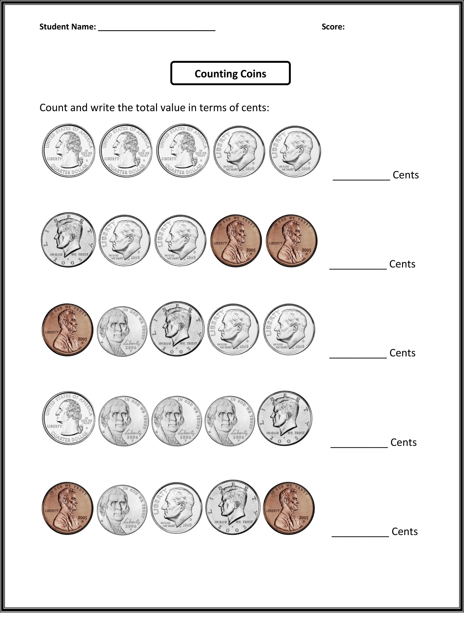 free 4th grade math worksheets coin