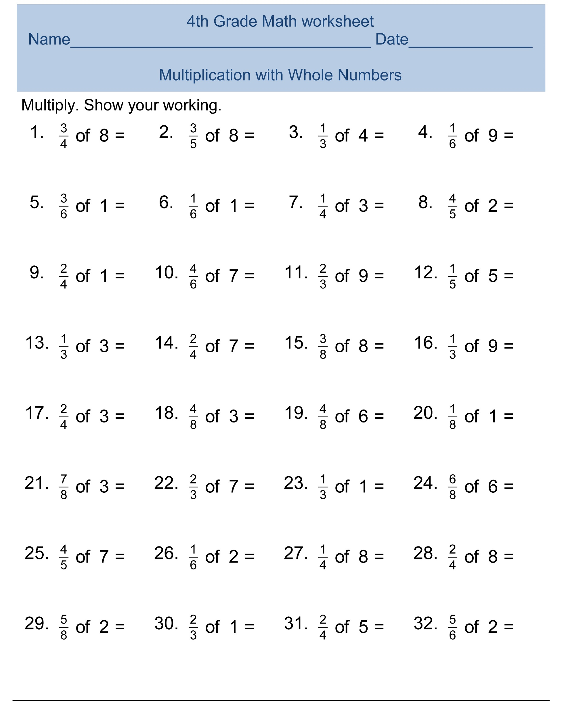 Math worksheets for 4th graders with answers