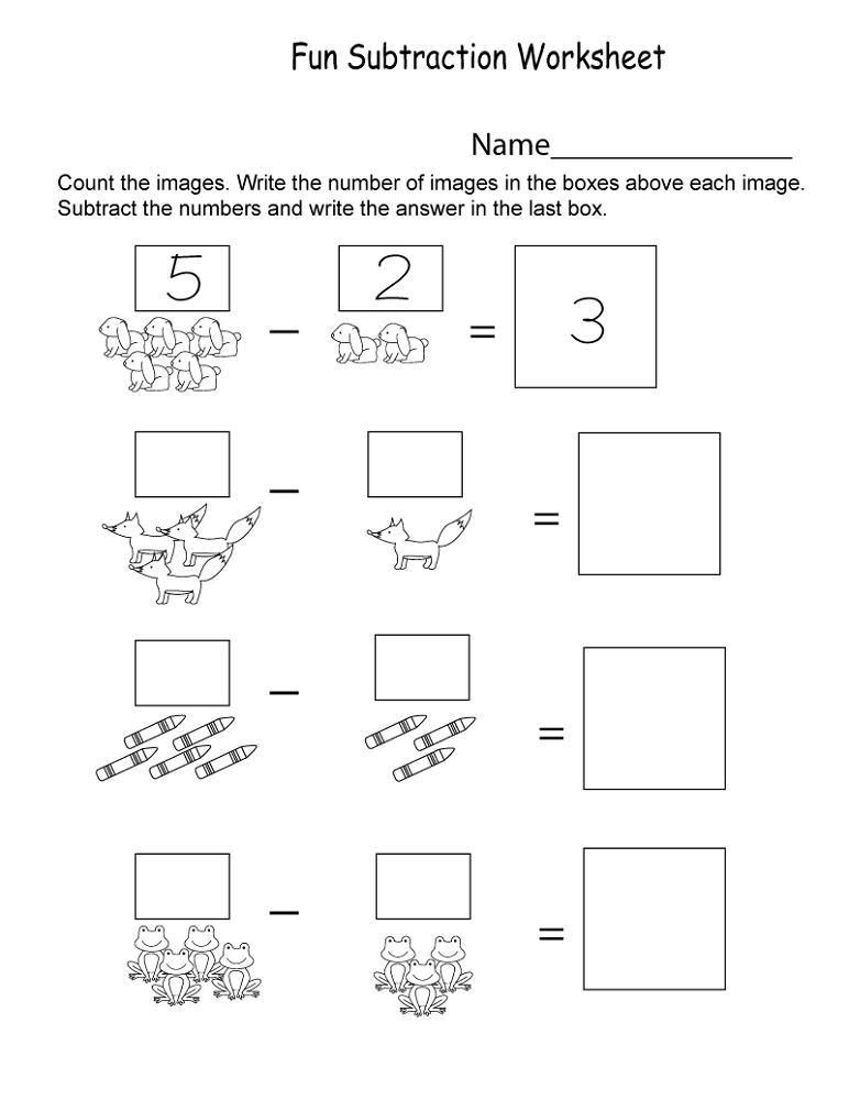 free kindergarten worksheets subtraction