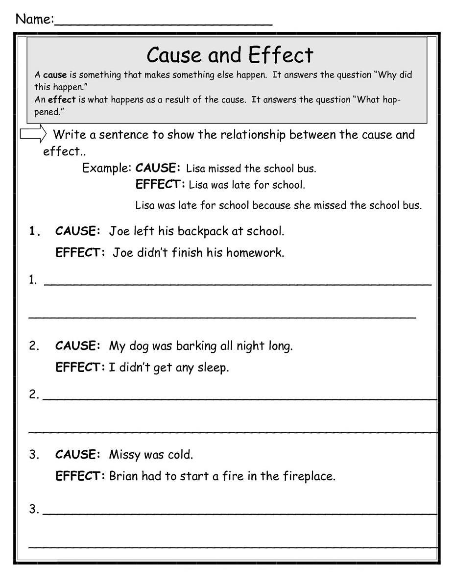 free printable literacy worksheets cause
