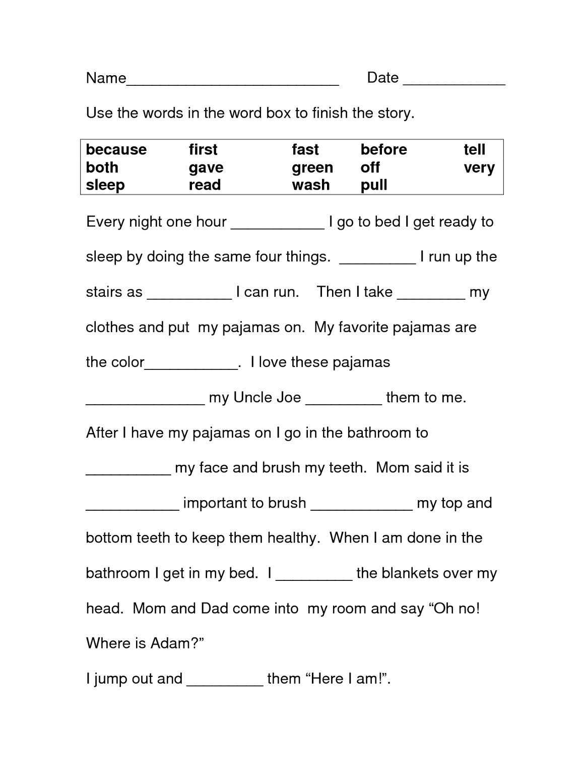 free printable literacy worksheets filling