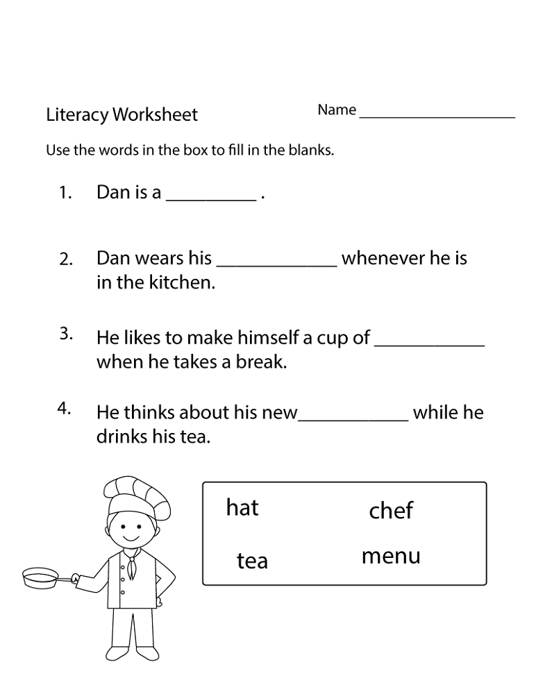 free printable literacy worksheets for kids