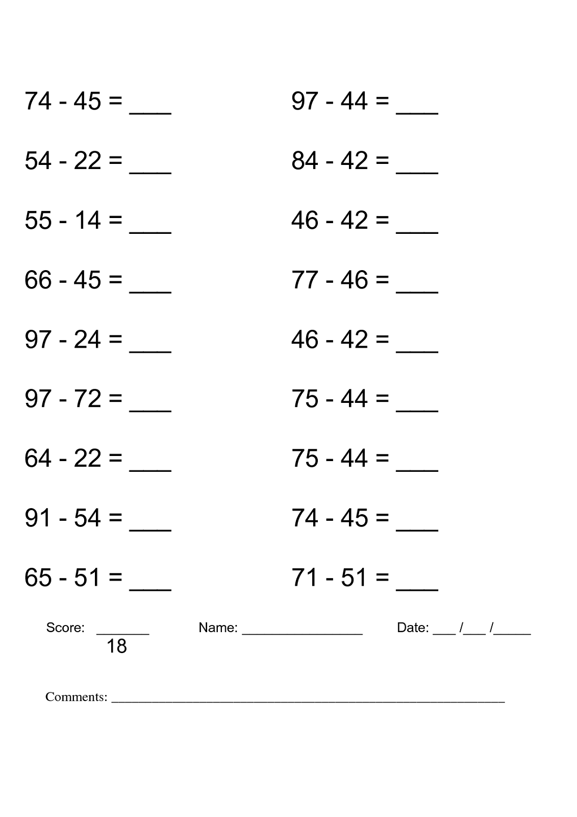 free printable math worksheets to print