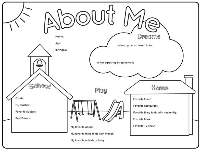 printable worksheets about me