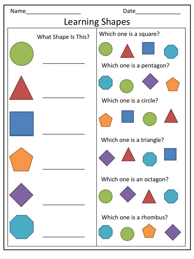 toddler learning printables shape