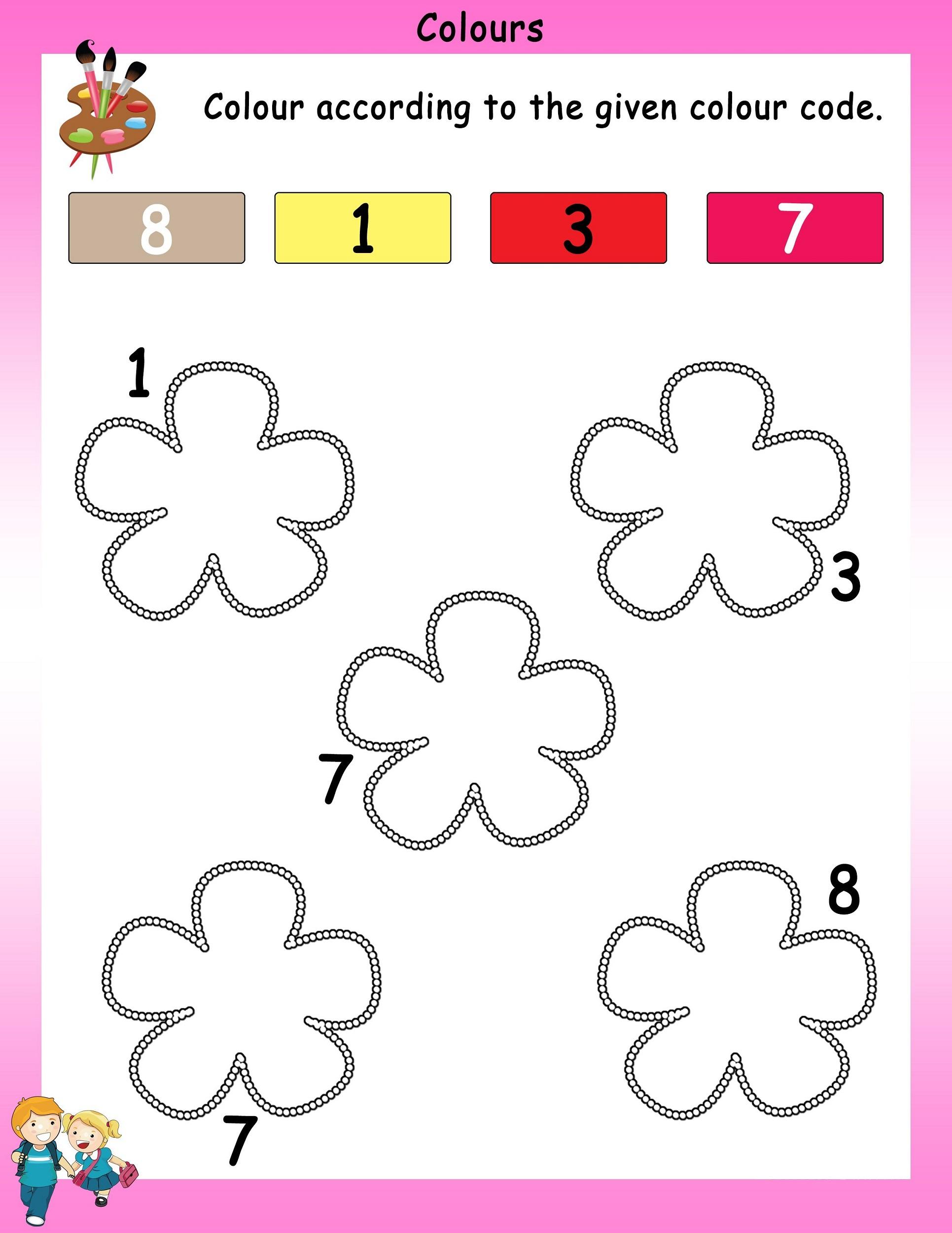 worksheet for nursery coloring