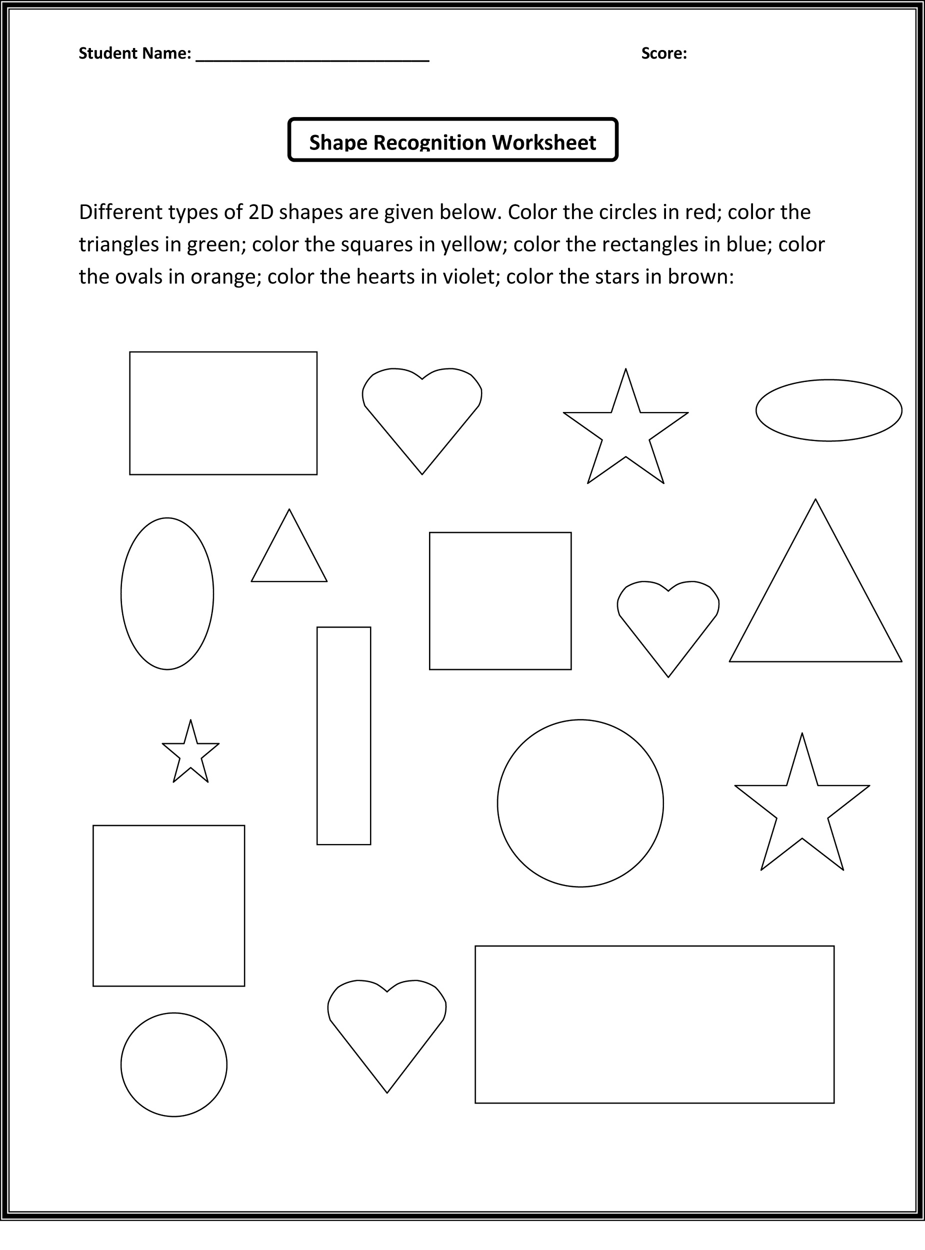 worksheet for nursery shape