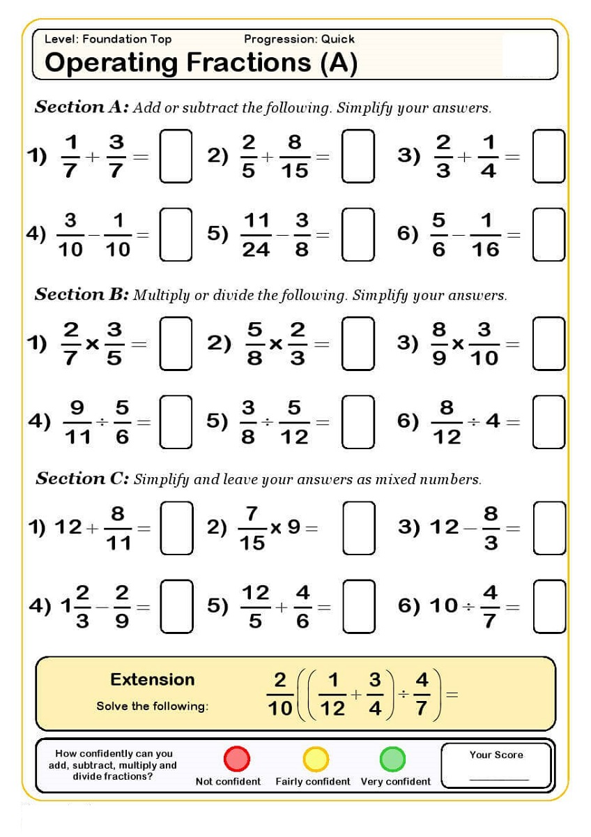 year 5 maths worksheets printable fraction