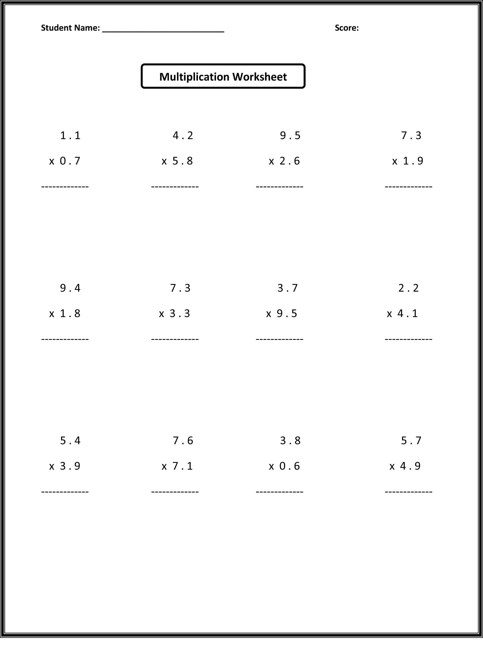 6th grade worksheets math