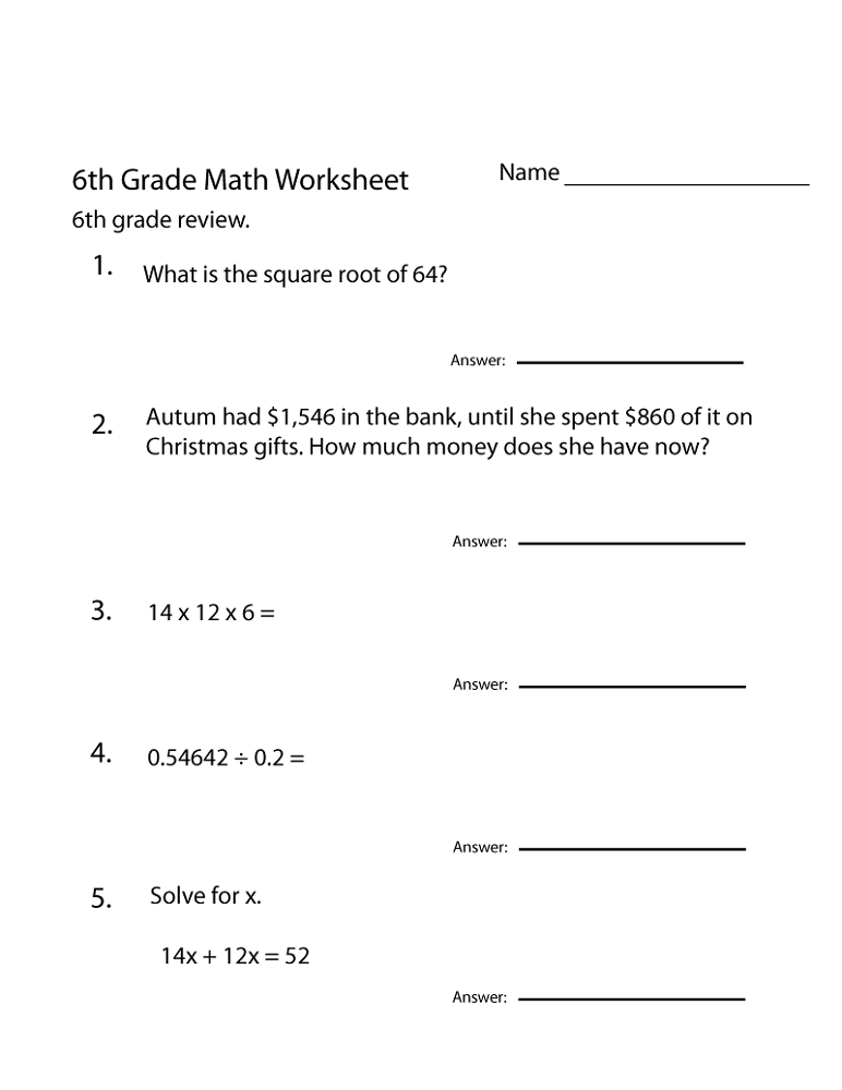 photo about 6th Grade Math Worksheets Printable named Totally free 6th Quality Math Worksheets Match Shelter