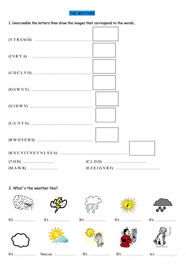 free educational worksheets weather