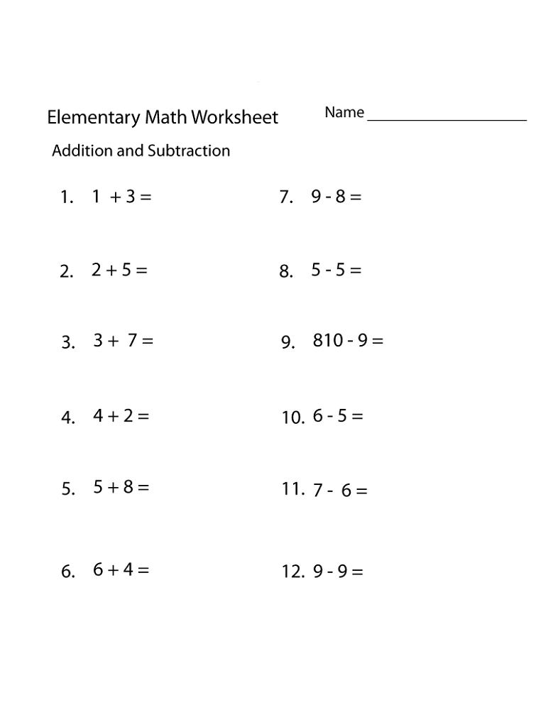 free elementary worksheets math