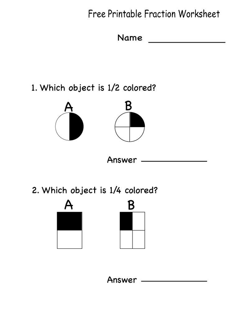 free math printables fraction
