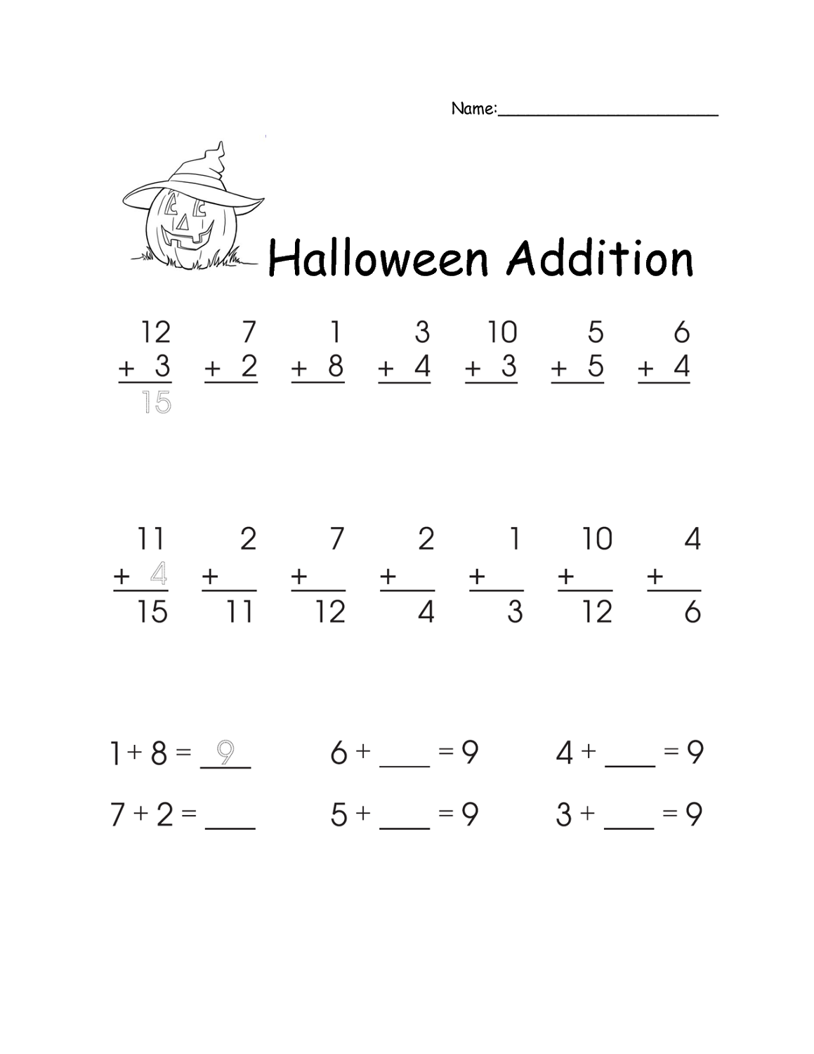 Free printable math worksheets for 1st grade