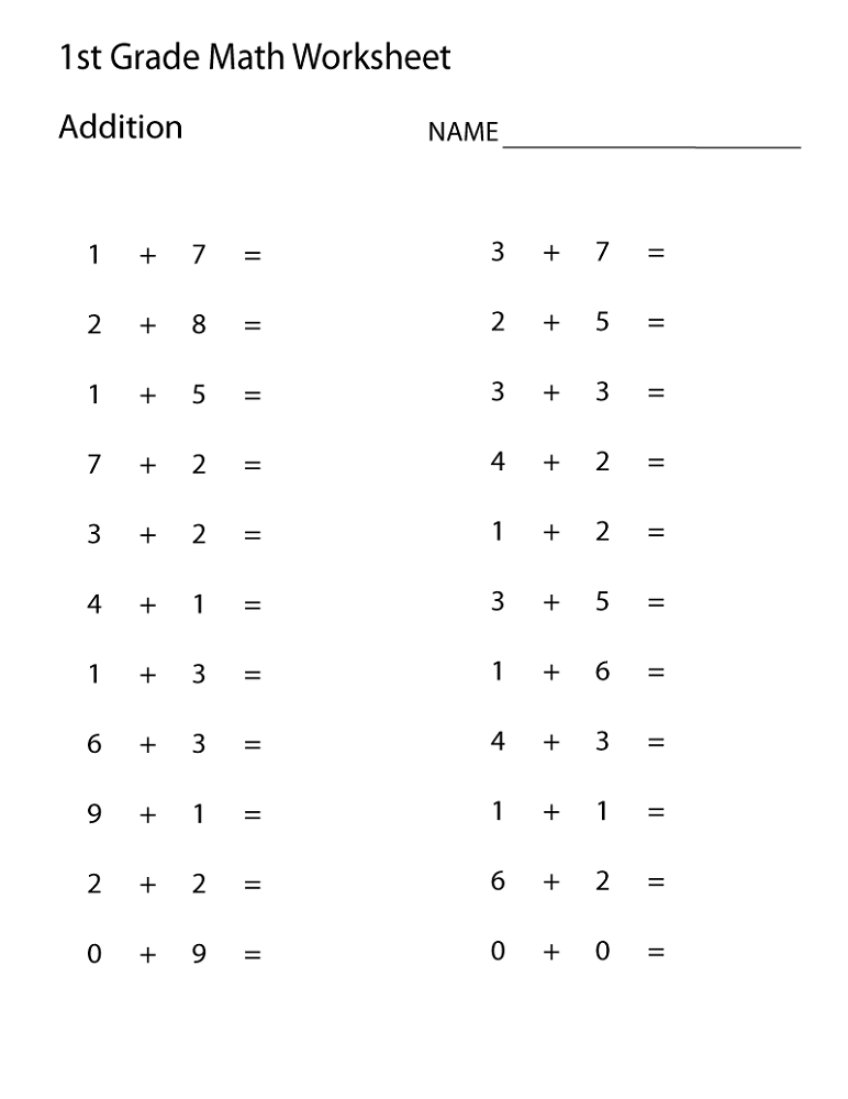 free math worksheets for 1st grade simple