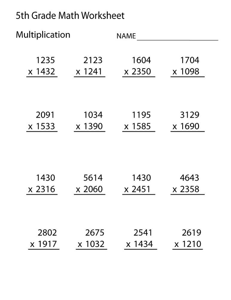 free printable maths worksheets for grade 5 multiplication