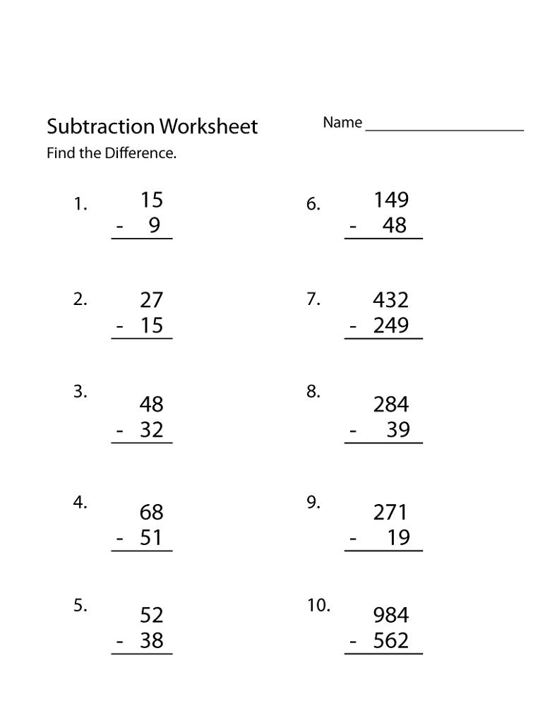 free printable workbooks subtraction