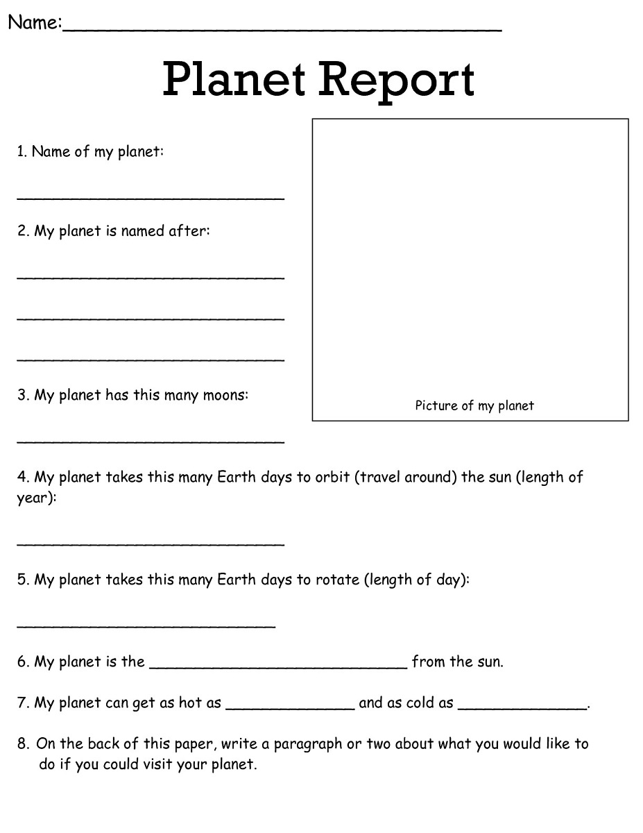 free science worksheets planet