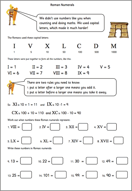 maths for year 5 free worksheets roman numeral