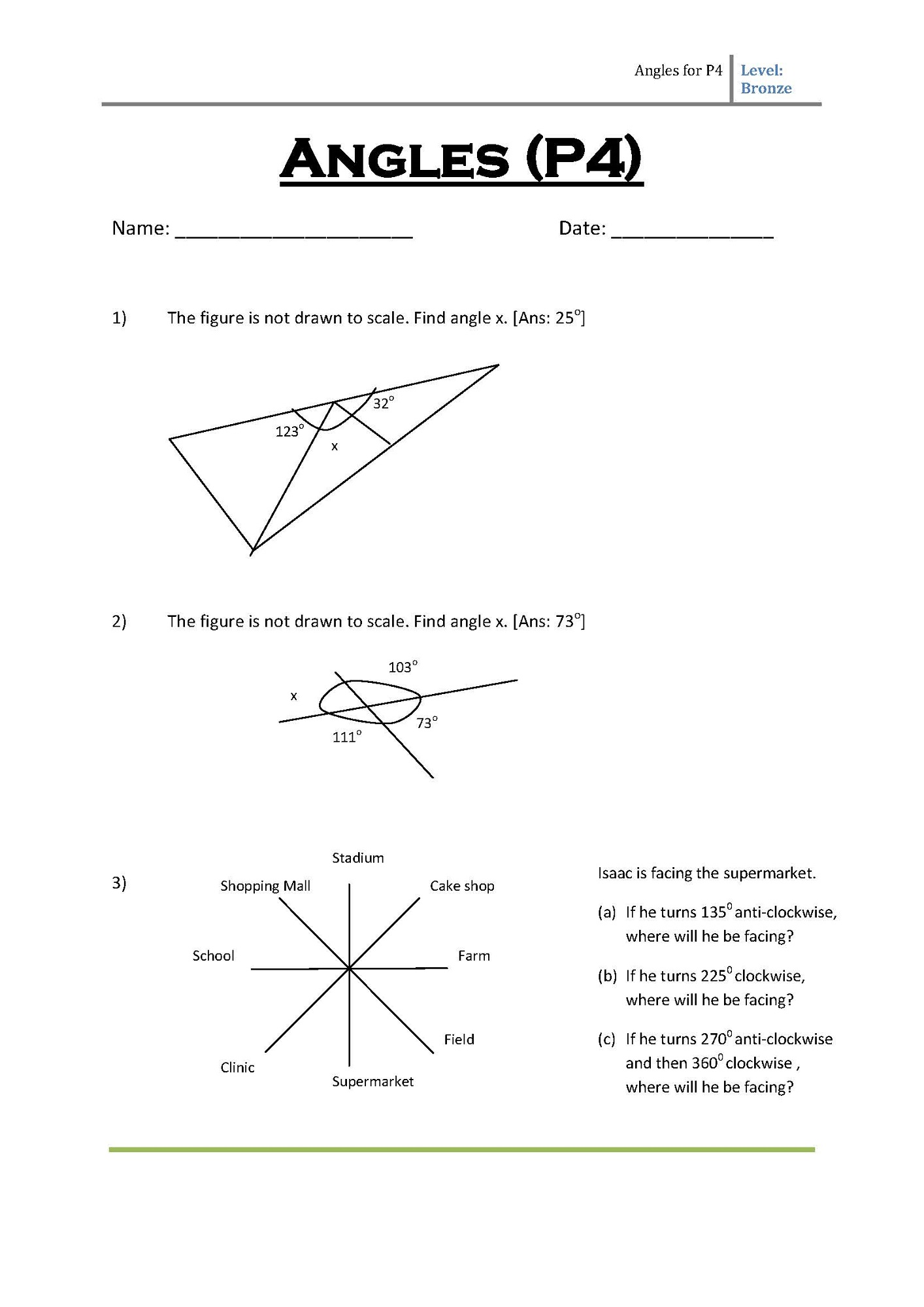 primary 4 maths worksheets angle