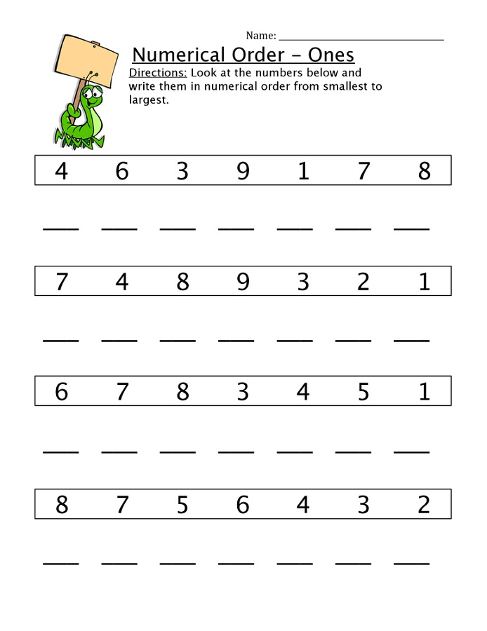 free numeracy worksheets order