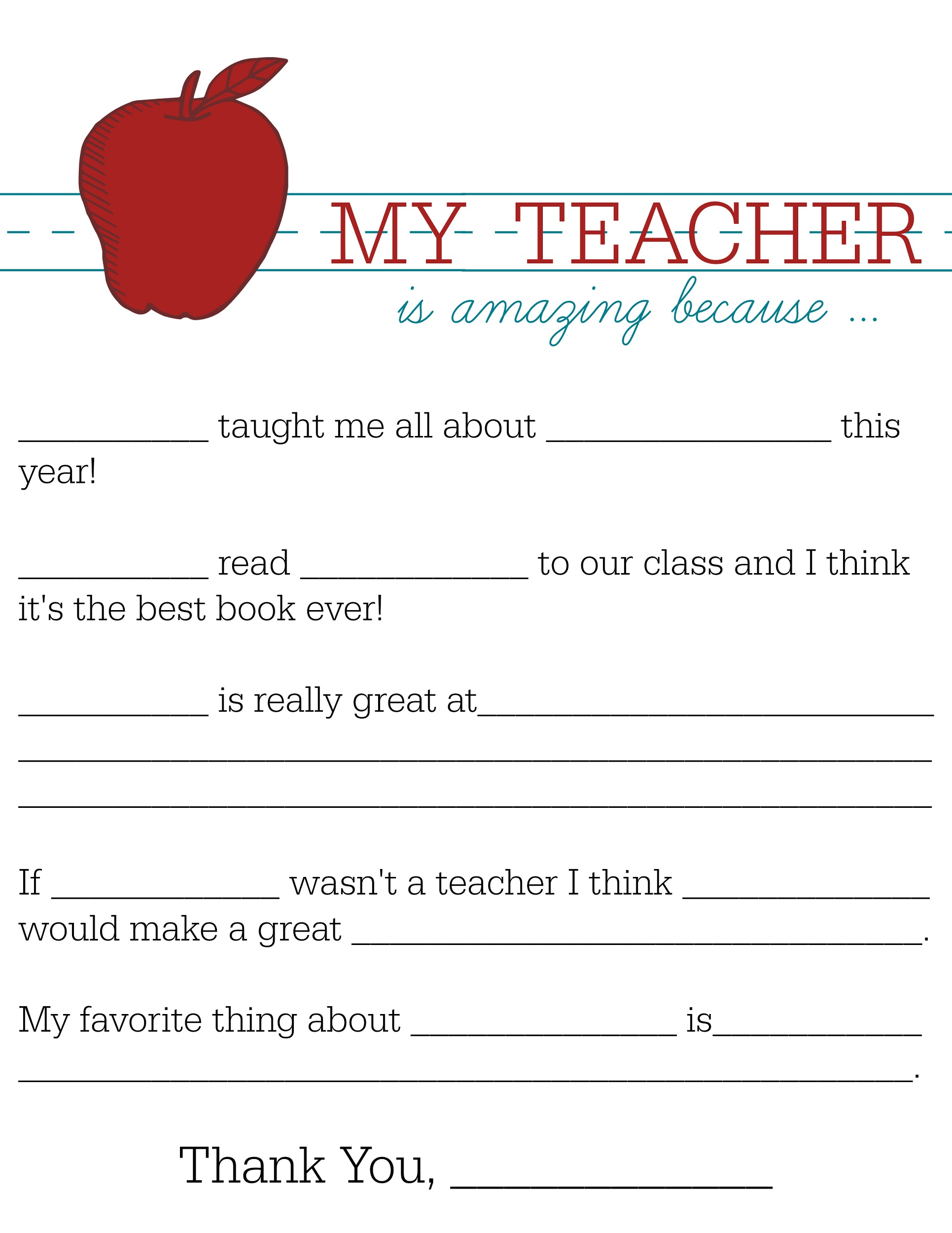 free printables for teachers experience