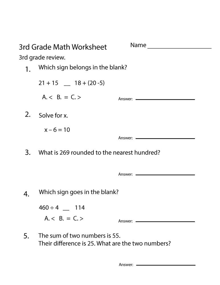 free third grade math worksheets for kids