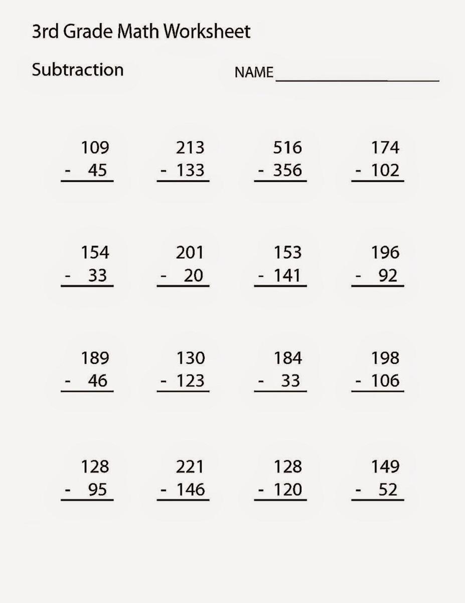 free third grade math worksheets printable
