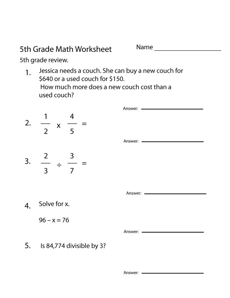 Math Worksheets for Year 5 Free Online | Activity Shelter