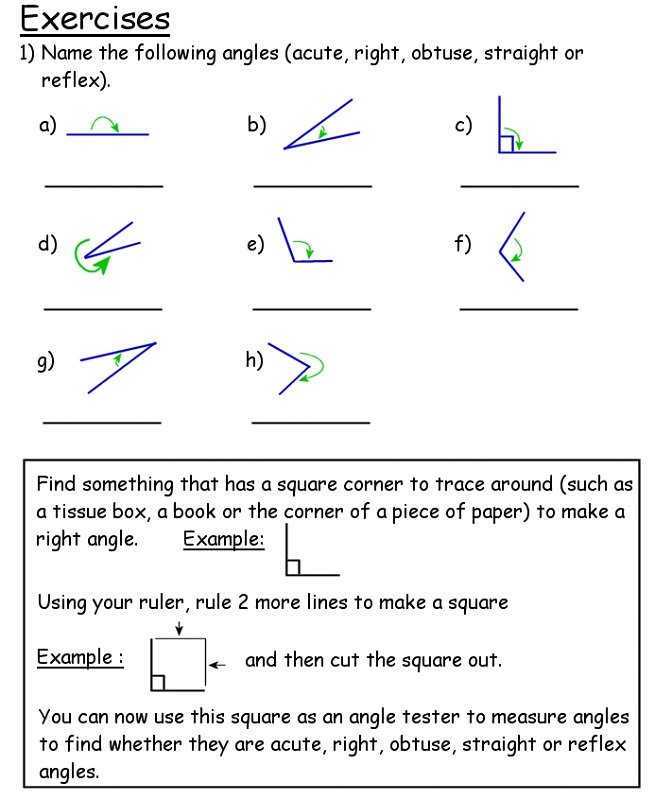 year 4 maths worksheets printable free angle