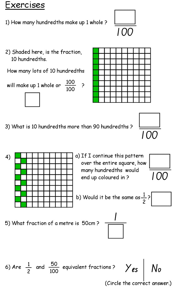 year 4 maths worksheets printable free fraction