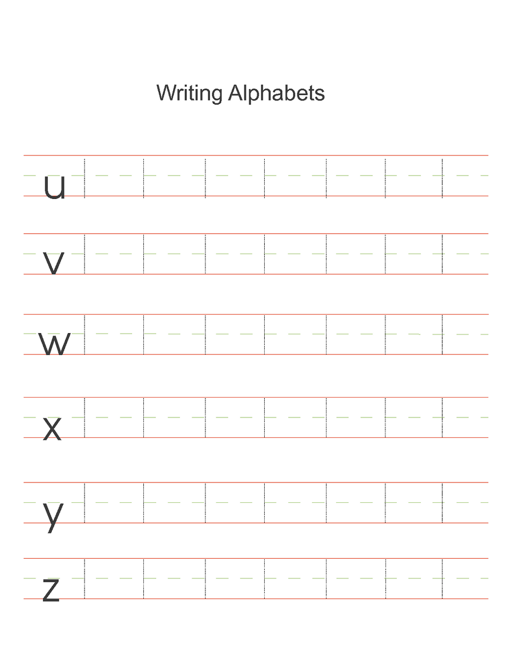 alphabet practice worksheets writing
