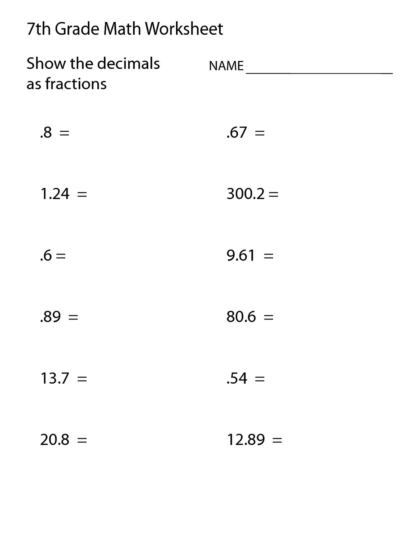 free mathematics worksheets 7th grade