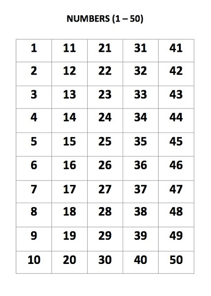Monster image in free printable numbers 1-50