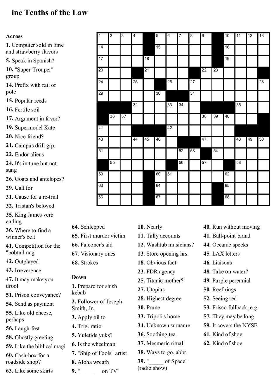 This is a picture of Nifty Printable Crossword Puzzles Free