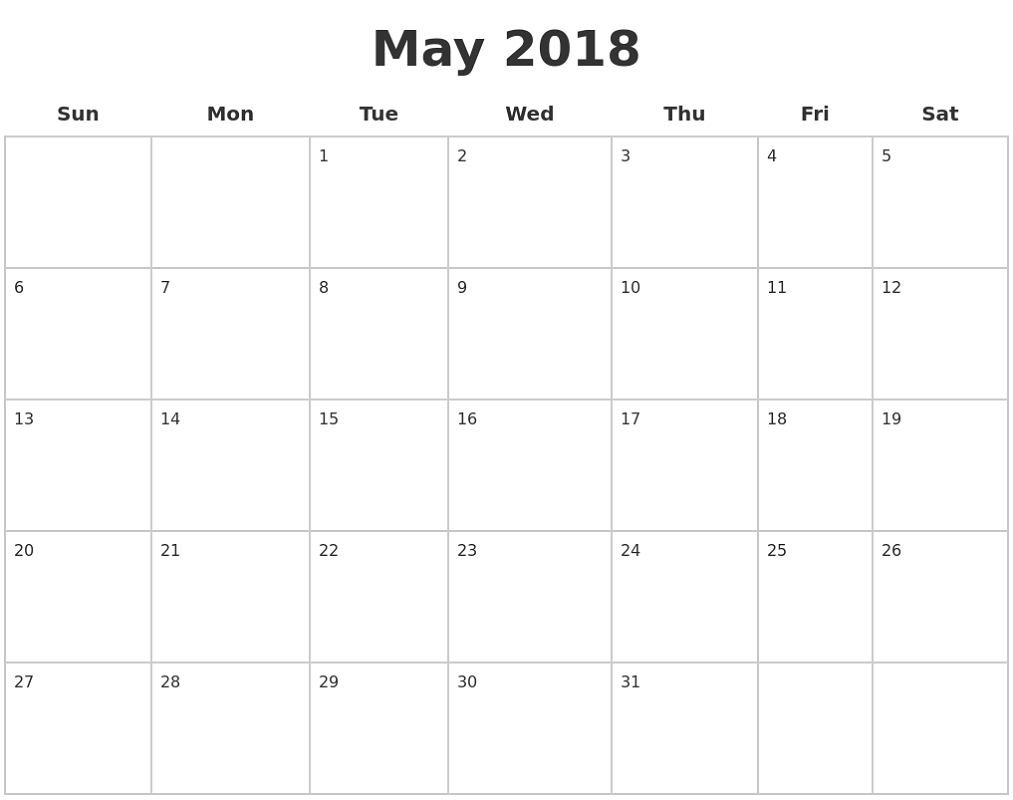 Blank Calendar Pages 2018 May