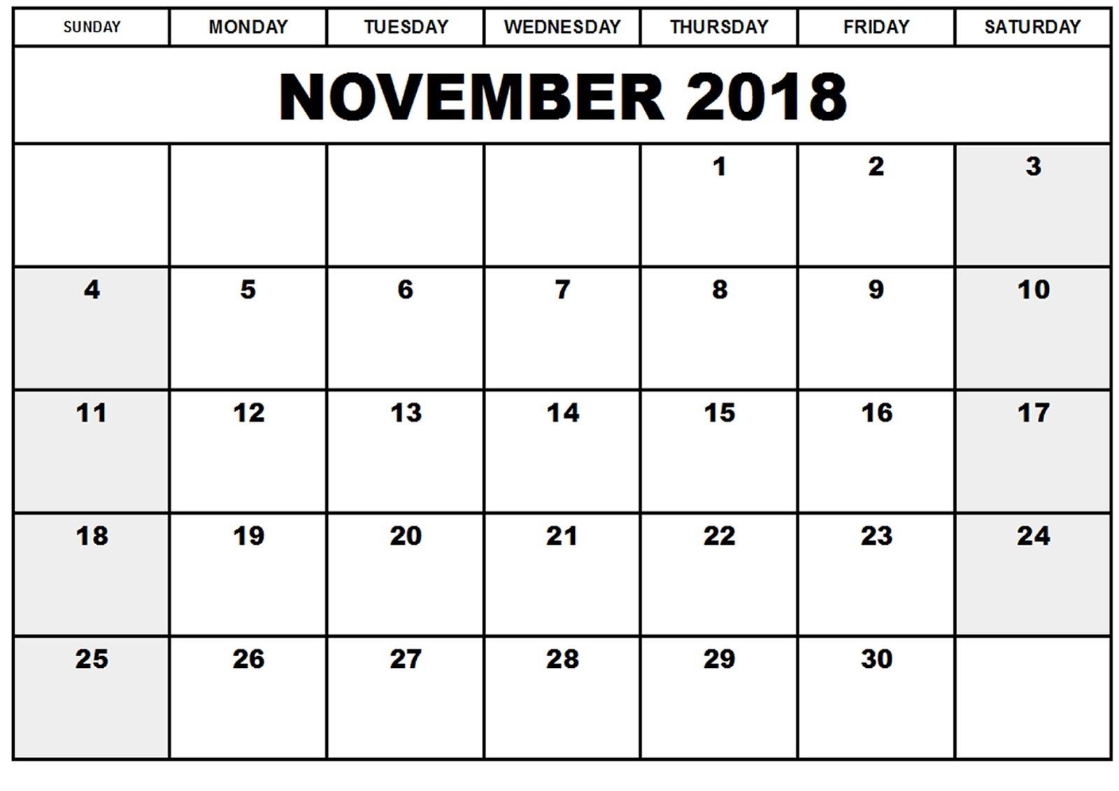 Blank Calendar Pages 2018 November