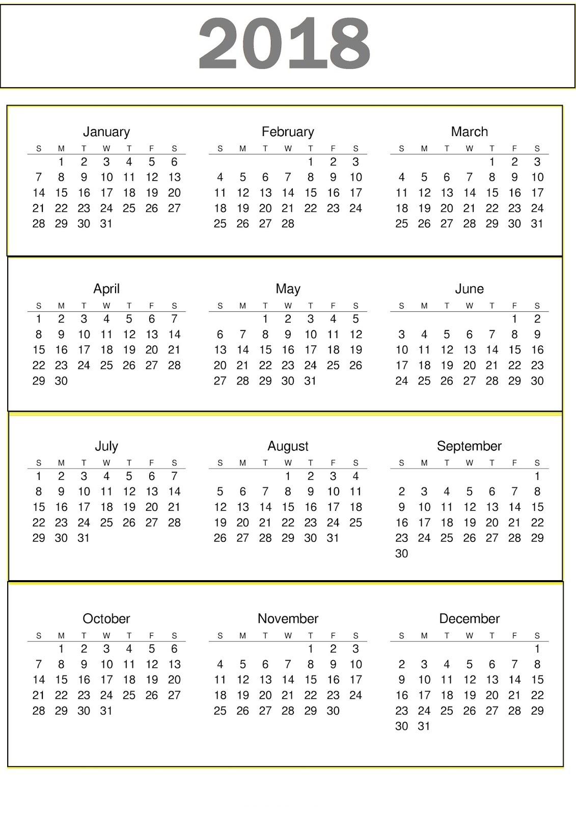 Calendar 2018 Free