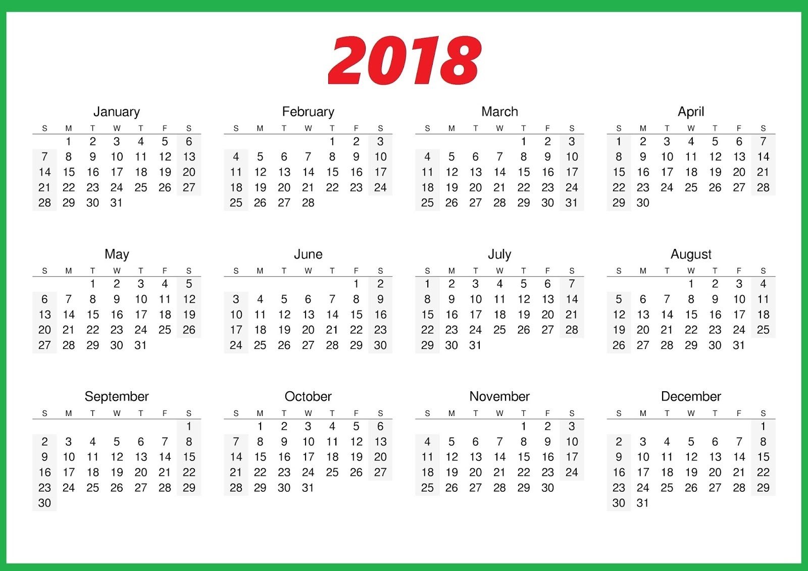 Calendar 2018 Printable Free