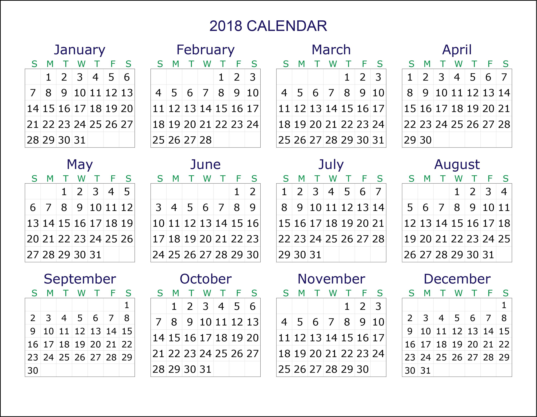 Calendar 2018 Printable Transparan